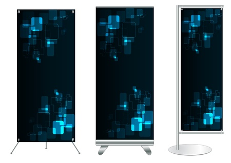 roll up: Set of banner stand display with identity background ready for use  Vector template for design work
