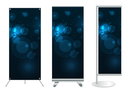 display stand: Set of banner stand display with identity background ready for use  Vector template for design work