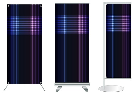 flat display panel: Set of banner stand display with identity background ready for use  Vector template for design work