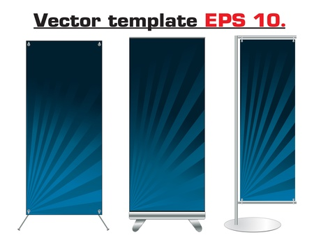empty banner: Set of banner stand display with identity background ready for use  Vector template for design work