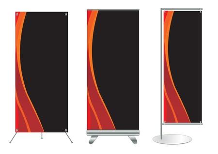 affichage publicitaire: Ensemble de l'affichage stand de banni�re avec un fond d'identit� pr�te pour le mod�le Vecteur utilisation pour des travaux de conception