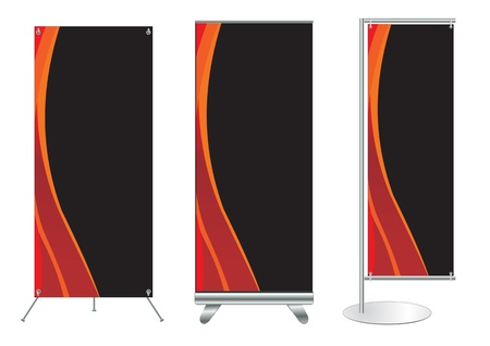 retail display: Set of banner stand display with identity background ready for use  Vector template for design work