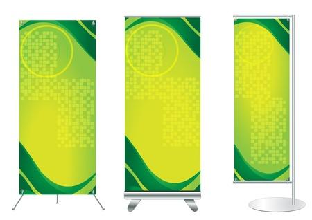 beursvloer: Set van banner staan display met identiteit achtergrond klaar voor gebruik Vector sjabloon voor design werk
