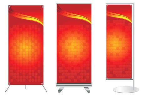 commerce: Ensemble de l'affichage stand de banni�re avec un fond d'identit� pr�te pour le mod�le Vecteur utilisation pour des travaux de conception