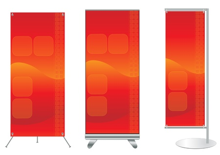 Set of banner stand display with identity background ready for use  Vector template for design work  Vector