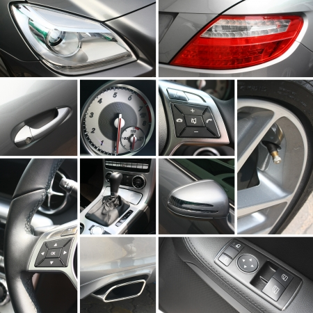 Luxury car details collage photo