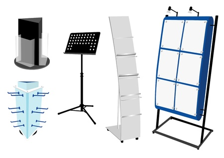 display stand: Blank Promotion Stand set  Vector template