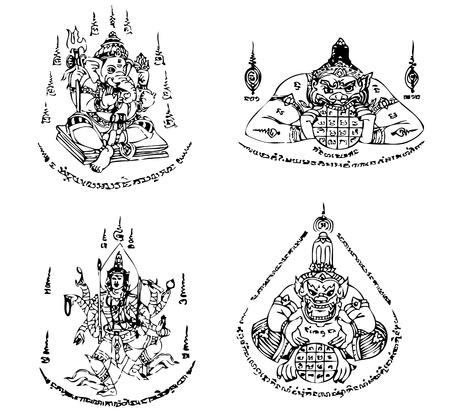 tatuaje dragon: Tailandia plantilla de tatuaje vector Antiguo Vectores