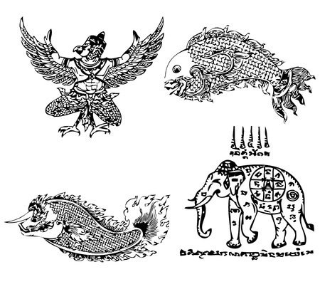 asian culture: Thai Tattoo Ancient  Vector template