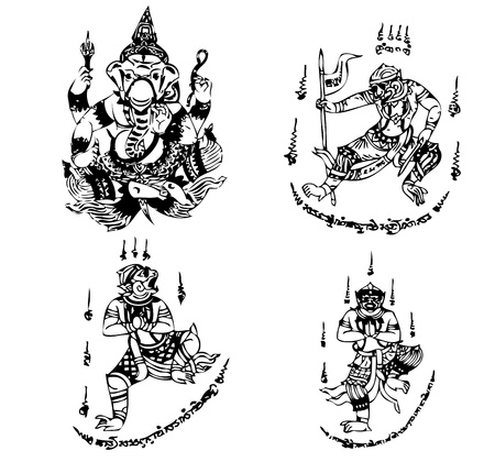 Tatouage Thai Vecteur modèle antique Banque d'images - 12866636