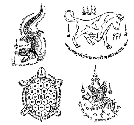 engel tattoo: Thai Tattoo Alte Vektor-Vorlage