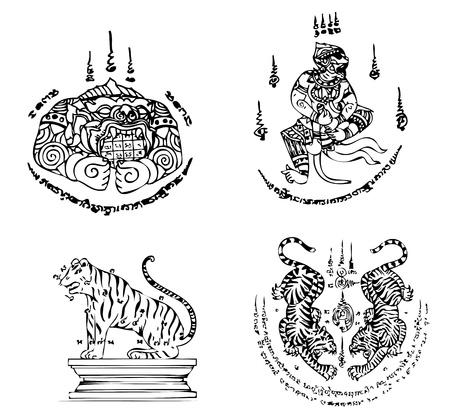 tattoo traditional: Modello Thai Tattoo Ancient vettore