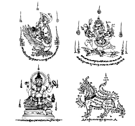 buddhist temple: Thai Tattoo Ancient  Vector template