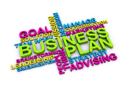 advising: 3d Business plan and other related words  isolated on white background