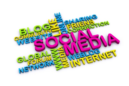 community marketing: 3d social media and other related words  isolated on white background