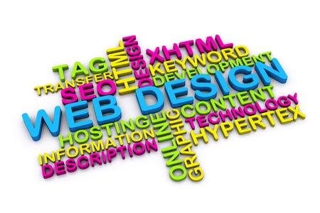 웹: 3D 웹 디자인의 개념과 흰색 배경에 고립 된 다른 관련 단어