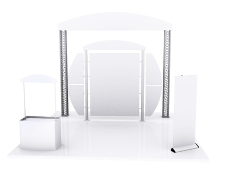kakemono: Blank trade exhibition stand with screen, counter, seats, roll-up banner  3D RENDER