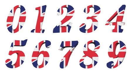 3d UK flag collection - number Stock Photo - 12866658