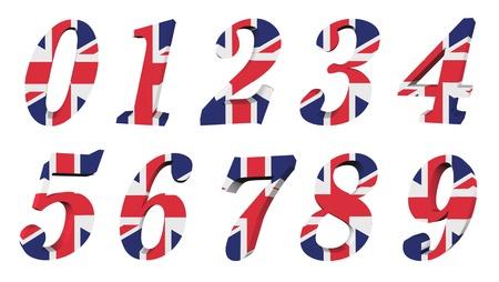 drapeau anglais: Collection 3d drapeau du Royaume-Uni - le numéro Banque d'images