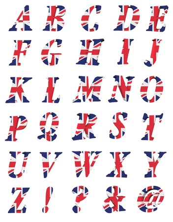 english flag: 3d collection of UK letters