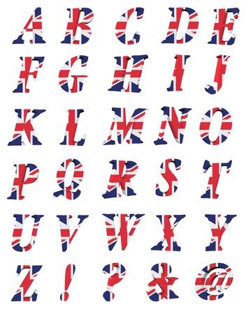 bandiera inglese: Raccolta 3D di lettere del Regno Unito