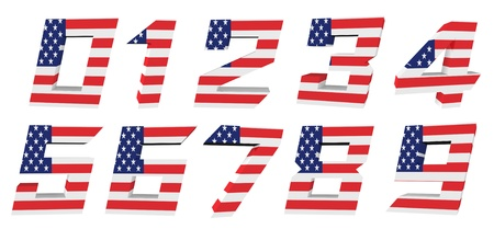 3d USA flag collection - number  photo