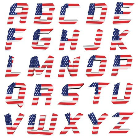 independance: 3d USA letter on white