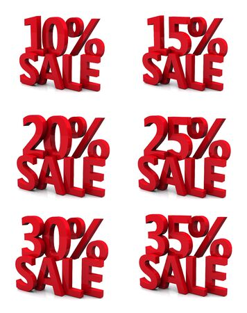 3d collection word sale 10 15 20 25 30 35 percent Stock Photo - 12866668