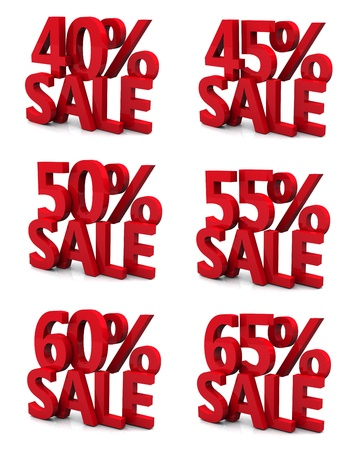 3d collection word sale 40 45 50 55 60 65 percent  Stock Photo - 12866744