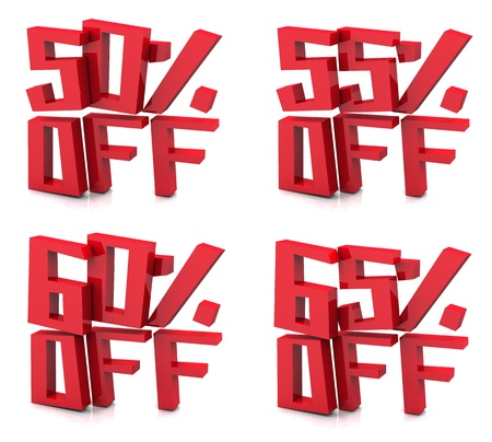 50 55: 3D rendering of 50 55 60 65 percent in red letters on a white background Stock Photo