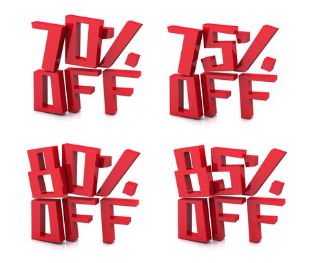 75 80: 3D rendering of 70 75 80 85 percent in red letters on a white background Stock Photo