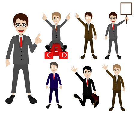 jump suit: Set of cartoon business man. Vector template for design work