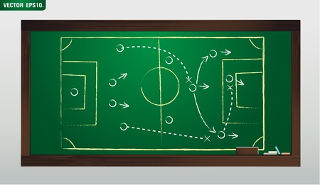 writing a soccer game strategy on a blackboard Vector template