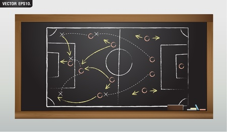 locker room: writing a soccer game strategy on a blackboard  Vector template  Illustration