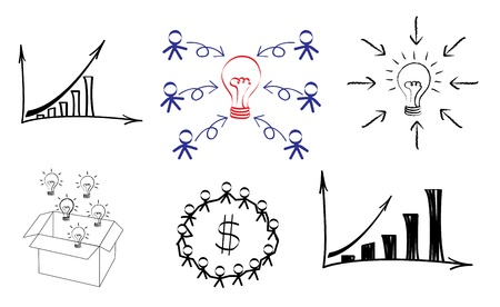 conceptual bulb: Light bulb idea drawing business concept  Business innovation and idea conceptual image Illustration