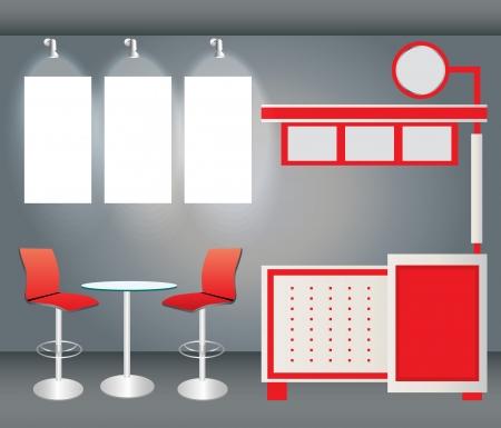 Vector Blank stand espositivo del commercio con schermo, contatore, sedili, roll-up banner e luci Vettoriali