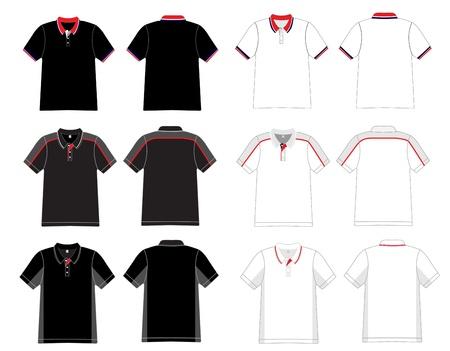 ポロ: 男性 s 黒と白のポロシャツ テンプレートをベクトルします。