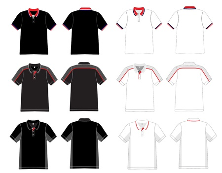 sleeved: Vector  Men s black and white polo shirt template