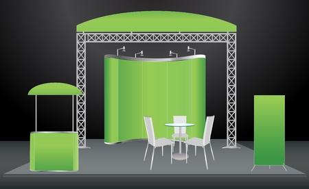 beursvloer: Vector Blank vakbeurs stand met scherm, teller, stoelen, roll-up banner en verlichting Stock Illustratie