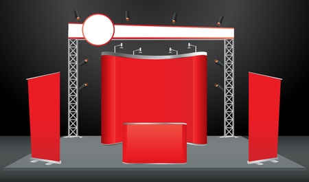 Vector Blank trade exhibition stand with screen, counter, seats, roll-up banner and lights