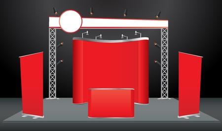 Vektor Blank-Messestand bereits mit Bildschirm, Zähler, Sitze, Roll-Up Banner und Lichter