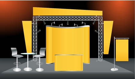 display stand: Vector Blank trade exhibition stand with screen, counter, seats, roll-up banner and lights