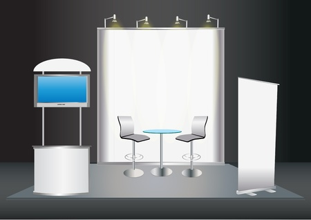 Vector Blank trade exhibition stand with screen, counter, seats, roll-up banner and lights  Stock Vector - 12866964