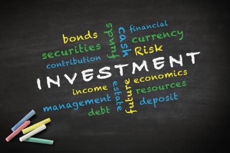 equidad: inversiones concepto y otras palabras relacionadas, escrito con tiza en una pizarra Foto de archivo