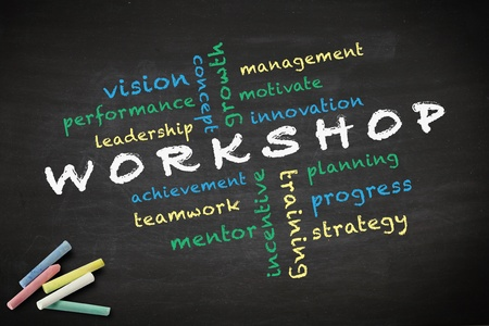 Workshop concept with other related words  written with chalk on a blackboard Stock Photo - 12867064