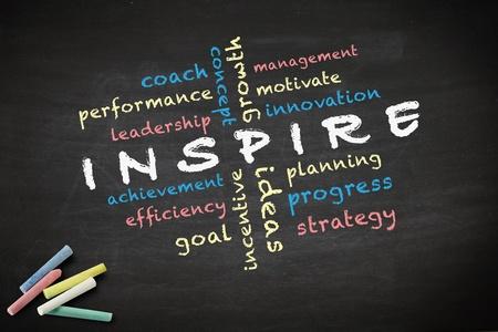 inspirerend: Inspire concept met andere woorden geschreven met krijt op een schoolbord Stockfoto