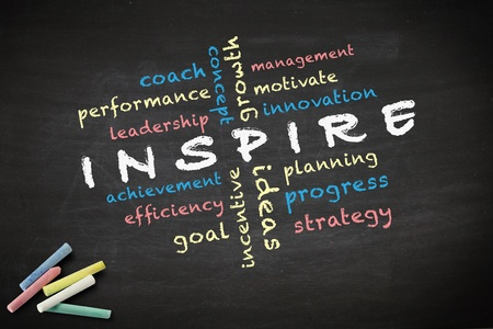 Inspire concept with other related words  written with chalk on a blackboard Stock Photo - 12867061