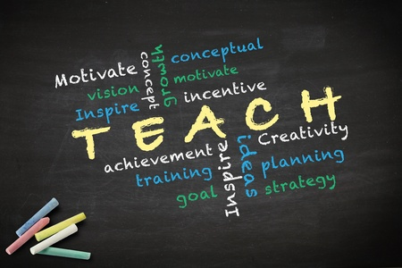 Teach concept with other related words  written with chalk on a blackboard   Stock Photo - 12866965