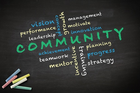 Community concept with other related words  written with chalk on a blackboard   Stock Photo - 12867059
