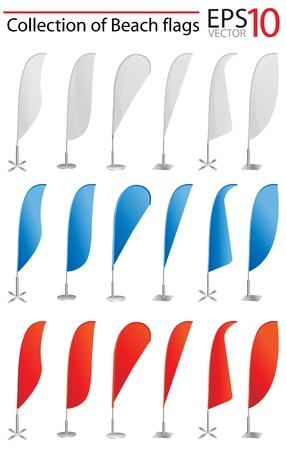 отображения: Векторные флагом пляж баннер стенд дисплей на выполнение проектных работ Иллюстрация